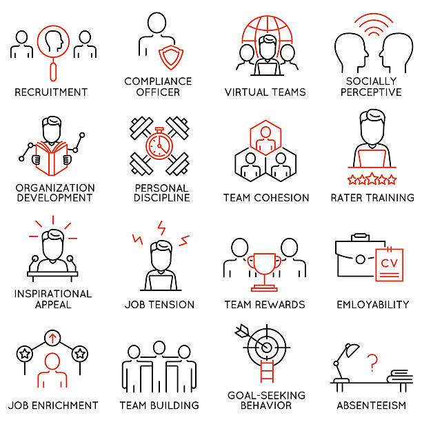 Set of icons related to business management - part 49 Vector set of 16 icons related to business management, strategy, career progress and business process. Mono line pictograms and infographics design elements - part 49 absentee stock illustrations