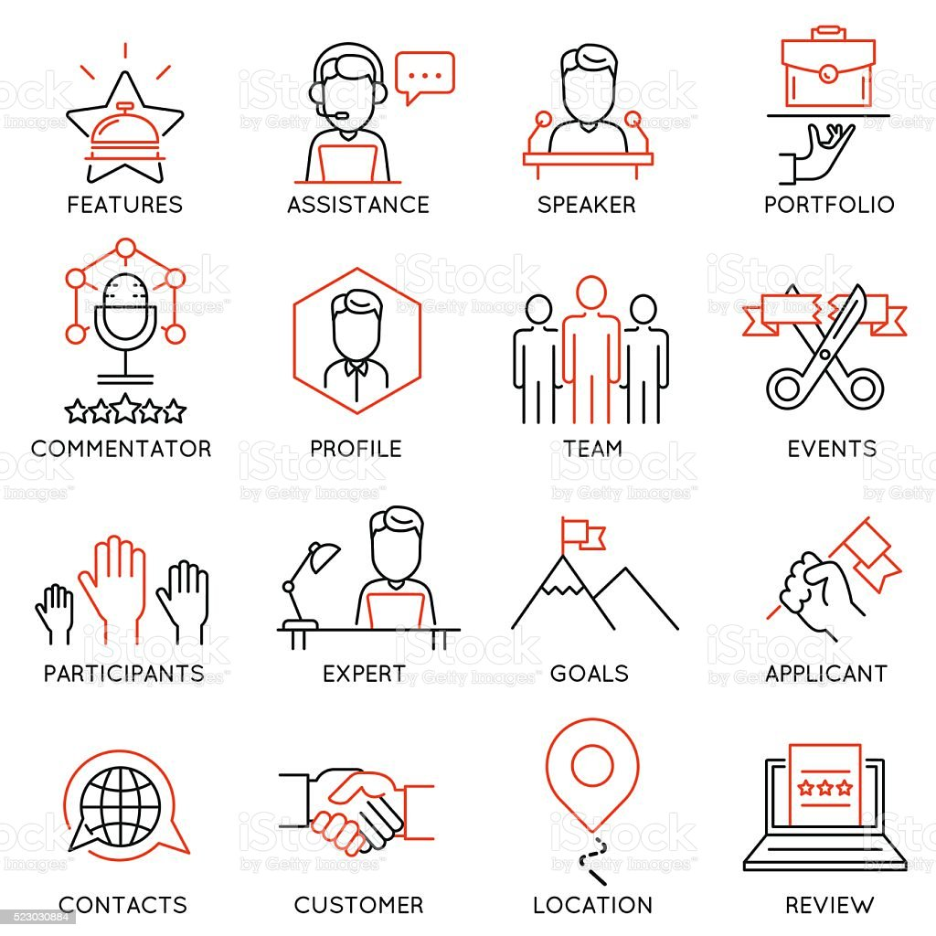 Set of icons related to business management - part 50 vector art illustration