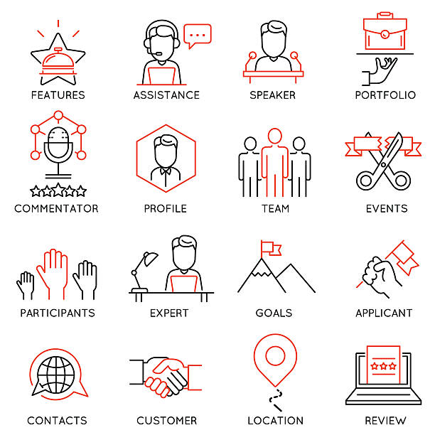 ilustraciones, imágenes clip art, dibujos animados e iconos de stock de conjunto de iconos relacionados con la gestión empresarial-parte 50 - prometido