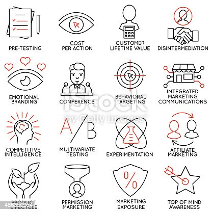 Vector set of 16 icons related to business management, strategy, career progress and business process. Mono line pictograms and infographics design elements - part 9