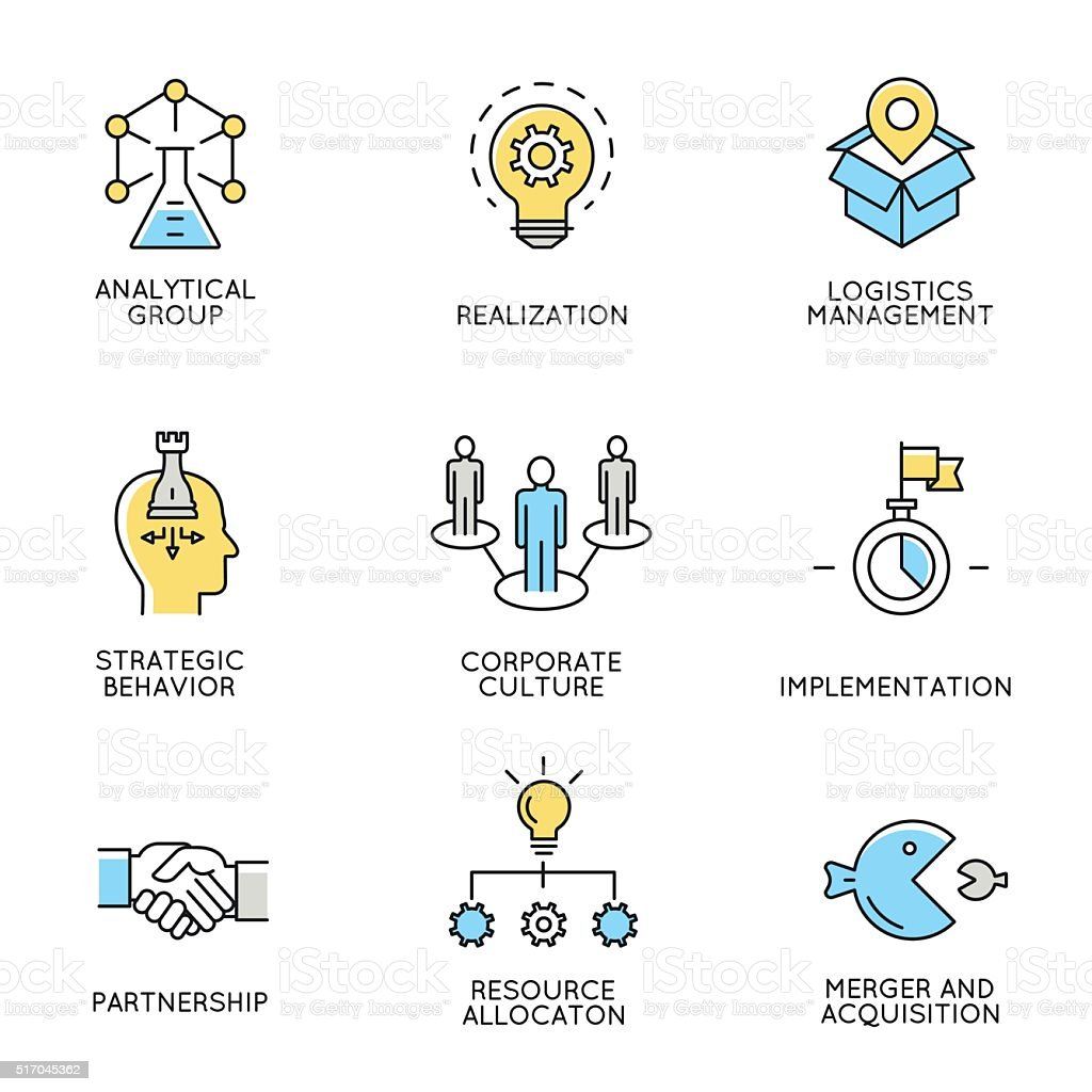 Set of icons related to corporate management - part 3 vector art illustration