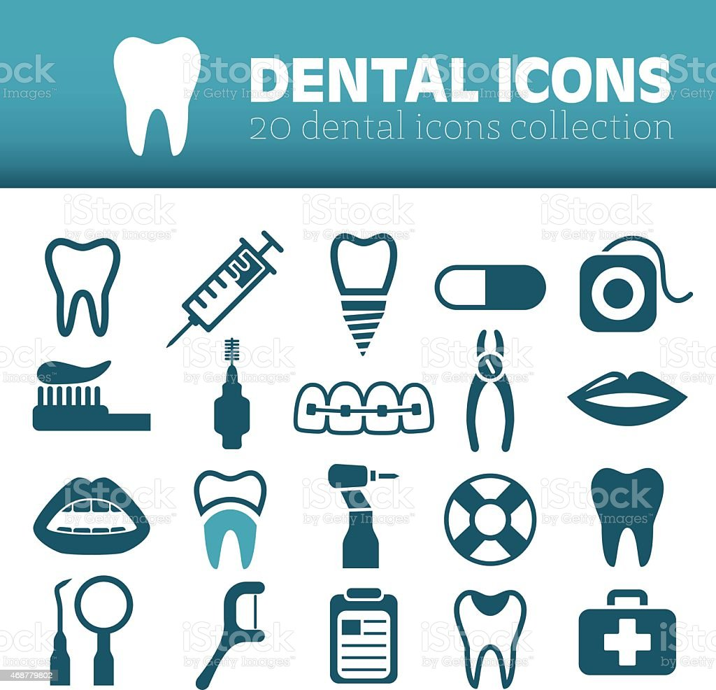Set of icons related to dentistry in blue vector art illustration