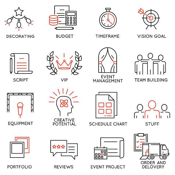 ilustrações, clipart, desenhos animados e ícones de conjunto de ícones relacionados à administração de eventos – parte 1 - dia do cliente