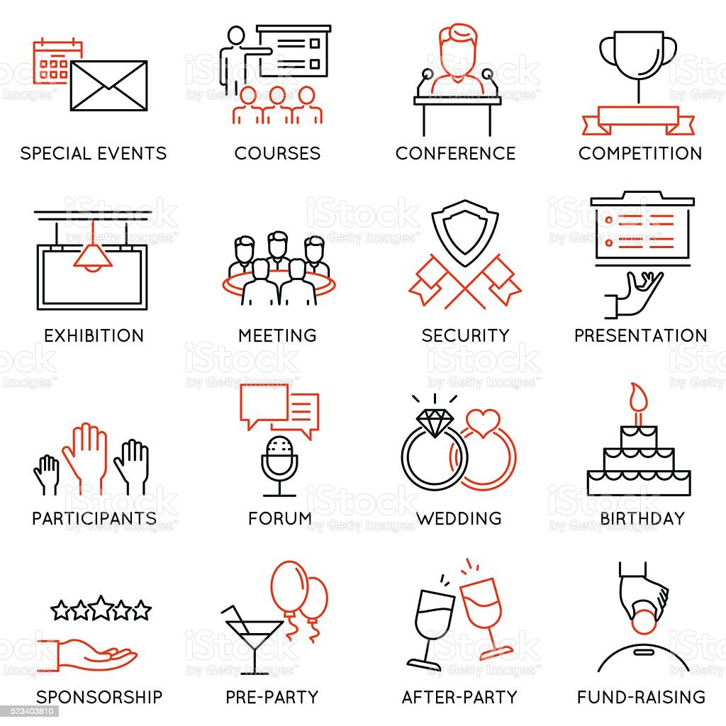 Set of icons related to event management - part 2 vector art illustration