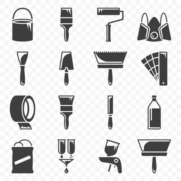 illustrations, cliparts, dessins animés et icônes de ensemble d'icônes liées aux travaux de peinture et de peinture. vecteur sur fond transparent. - raclette
