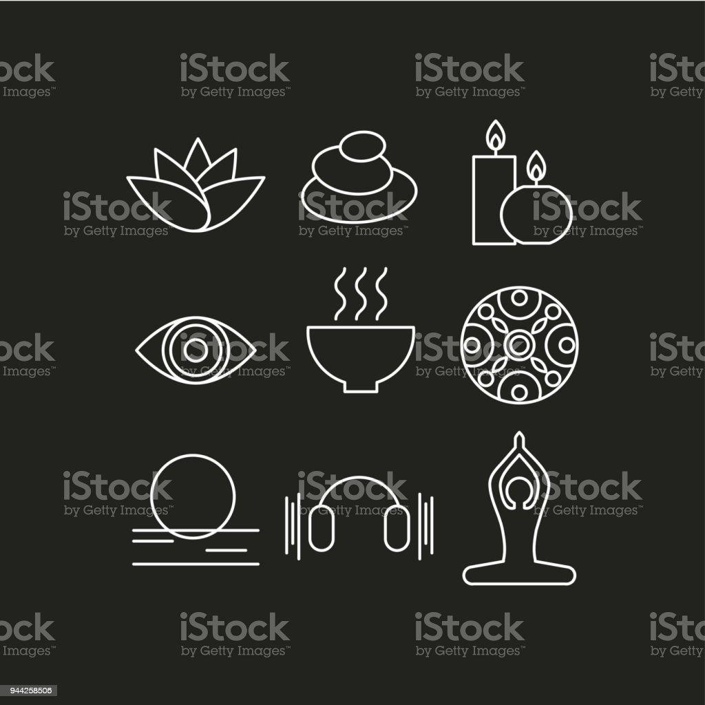 Conjunto de ícones relaxar - ilustração de arte em vetor