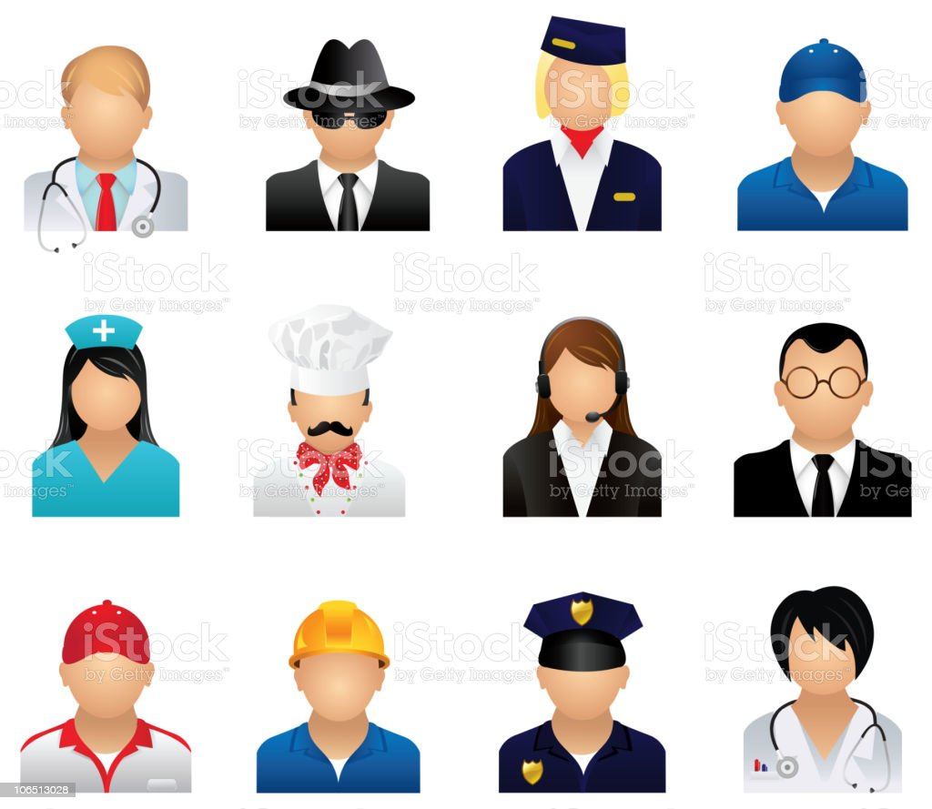 Set of icons representing peoples profession