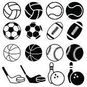 Set of icons sports balls.