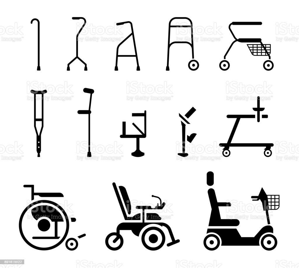 Conjunto de iconos que representan ortopédicos ayudas equipos, sillas de ruedas, muletas y movilidad. - ilustración de arte vectorial