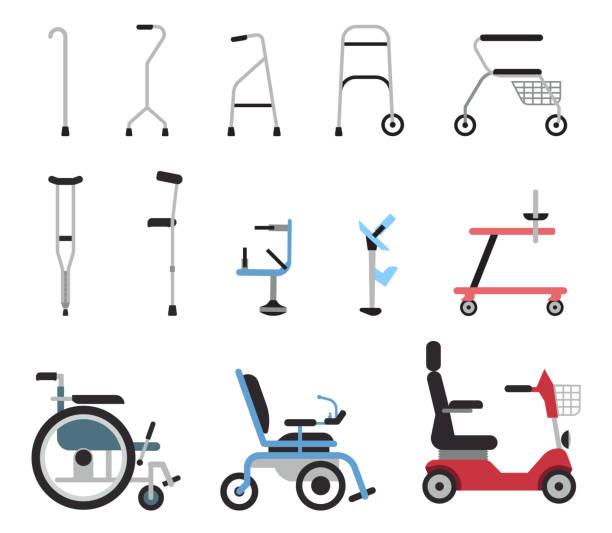 ilustraciones, imágenes clip art, dibujos animados e iconos de stock de conjunto de iconos que representan ortopédicos ayudas equipos, sillas de ruedas, muletas y movilidad. - geriatría
