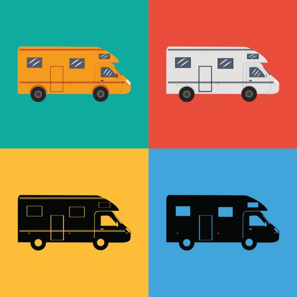 Set of icons trailer for camping Vector illustration. Set of icons trailer for camping. Colored and black. rv interior stock illustrations
