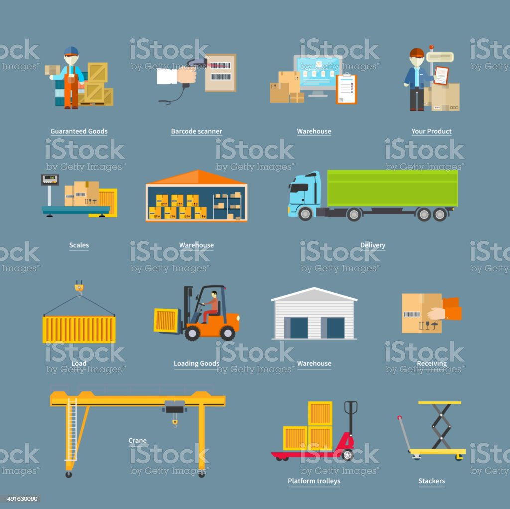 Set of Icons Transport Logistics Concept vector art illustration