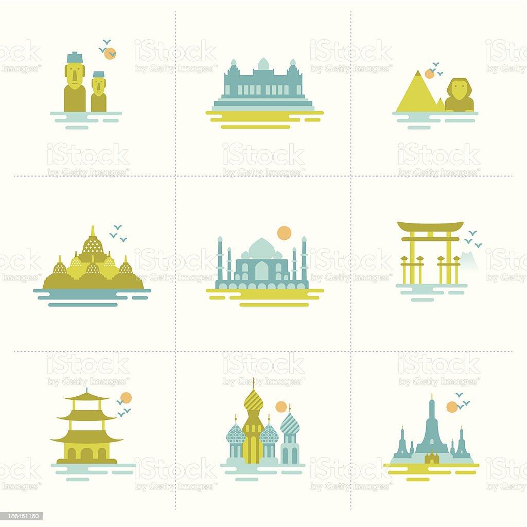 set of icons travel famous international landmarks. vector art illustration