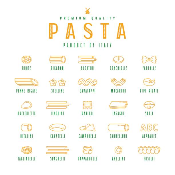 Set of icons varieties of pasta Set of icons varieties of pasta. Design elements in thin line style. Isolated on white background rotelle stock illustrations