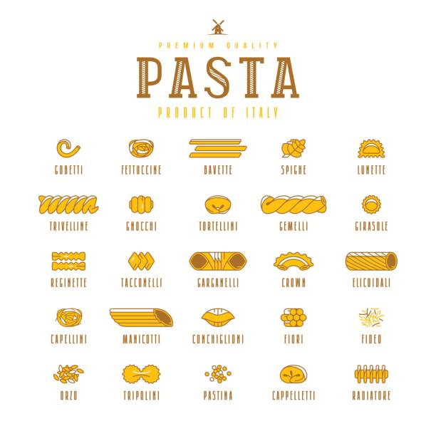 Set of icons varieties of pasta Set of icons varieties of pasta. Design elements in flat style. Isolated on white background tortellini stock illustrations