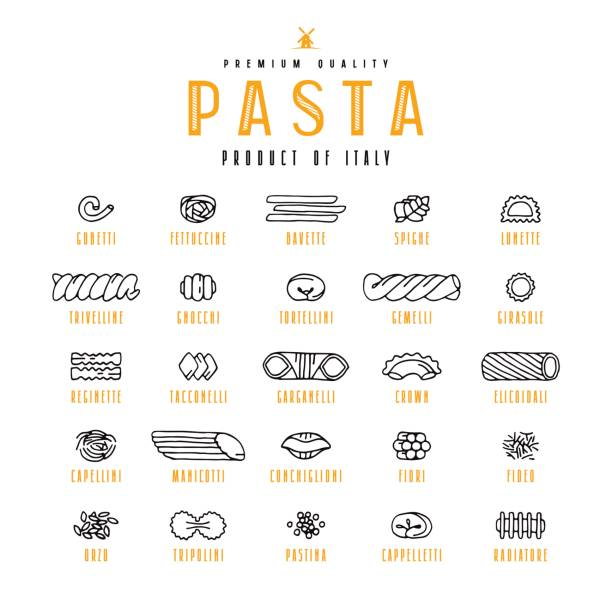Set of icons varieties of pasta Set of icons varieties of pasta. Design elements in the style of drawn graphics. Isolated on white background tortellini stock illustrations
