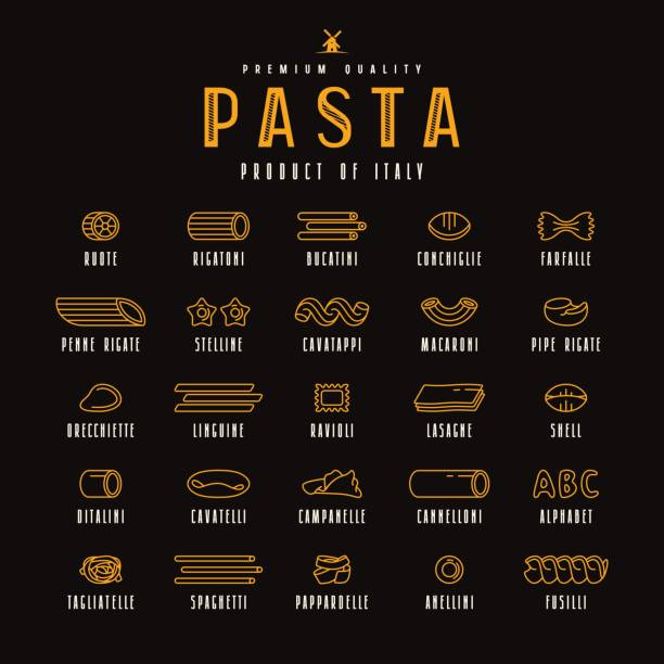 Set of icons varieties of pasta Set of icons varieties of pasta. Design elements in thin line style. Isolated on black background rotelle stock illustrations