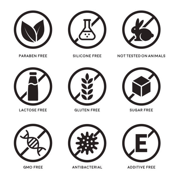 Set of icons Set of icons Gluten Free, Lactose Free, GMO Free, Paraben, Food additive, Sugar free, Not Tested on Animals, Antibacterial, Silicone vector icons genetic modification stock illustrations