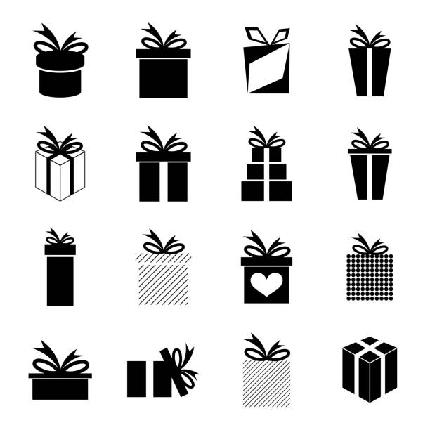 Set of icons Set of icons with a variety of gift box and ribbons. Vector. anniversary silhouettes stock illustrations