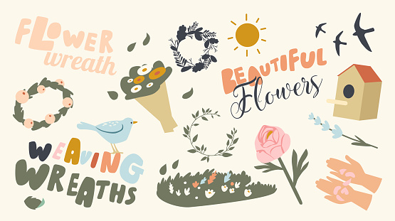 Set of Icons Weaving Wreaths Theme. Sun Shining, Bouquet of Blossoms, Hands Holding Petals and Green Meadow, Swallows