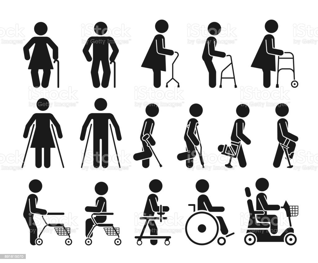 Set of icons which represent people using various orthopedic equipment. vector art illustration
