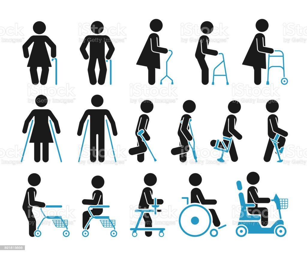Conjunto de iconos que representan a personas que utilizan varios equipos ortopédicos. - ilustración de arte vectorial