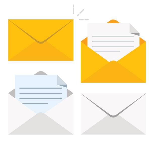 Satz von Symbolen mit einem Bild von einem geschlossenen Brief. Papier-Dokument eingeschlossen in einen Umschlag. Lieferung von Korrespondenz oder Office-Dokumente. Vektor-Illustration isoliert auf weißem Hintergrund. – Vektorgrafik