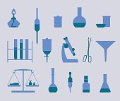 set of isolated icons of equipment for chemical or medical laboratory