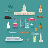 Set of icons with Cuban landmarks in vector. Che, rum, car symbols as visit Cuba design elements