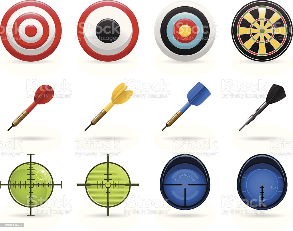 Set of icons with different bullseyes, targets and darts royalty-free stock vector art