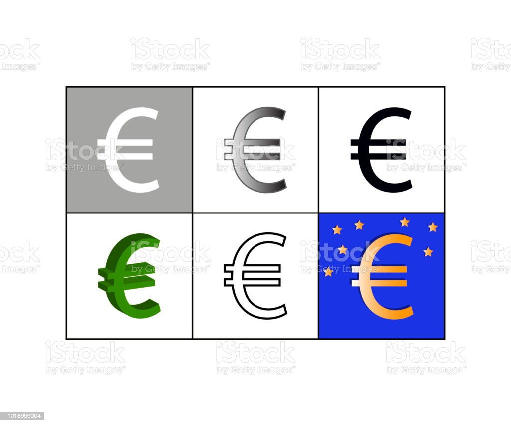 Set Of Icons With Euro Currency Symbol Stock Vector Art More