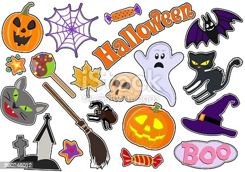 Colorful vector set of stickers/ badges/ icons/ patches/ design elements with pumpkin and cat, ghost, web and sweets, broom, spider and skull on white background. Badges of the holiday of Halloween.