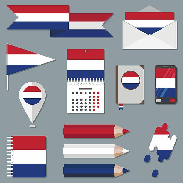stockillustraties, clipart, cartoons en iconen met set of icons with flag elements. netherlands - netherlands map