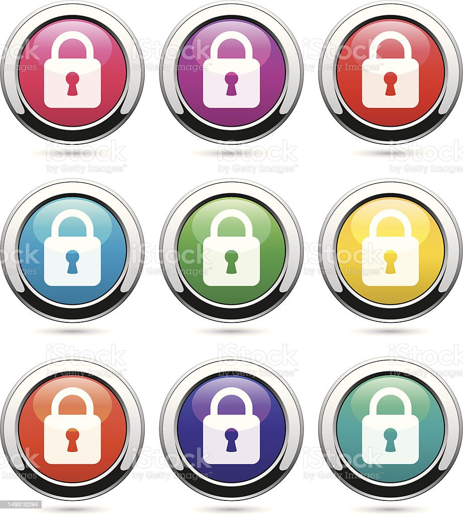 set of icons with locks vector art illustration