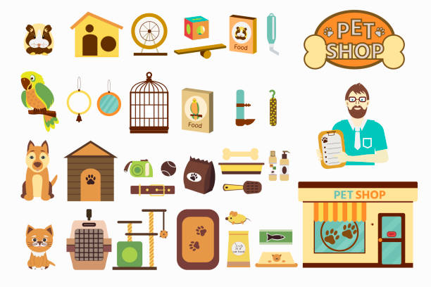 set von icons mit tierhandlung, verkäufer, papagei, hund, katze, hamster und waren für haustiere. - hamsterhaus stock-grafiken, -clipart, -cartoons und -symbole