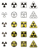 Set of icons with sign of radiation. Collection of hazard symbols.