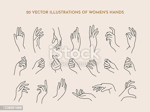 A set of icons women's hands in a trendy minimal linear style. Vector Illustration of female hands with various gestures. To create logos, prints, patterns, posters, and other designs