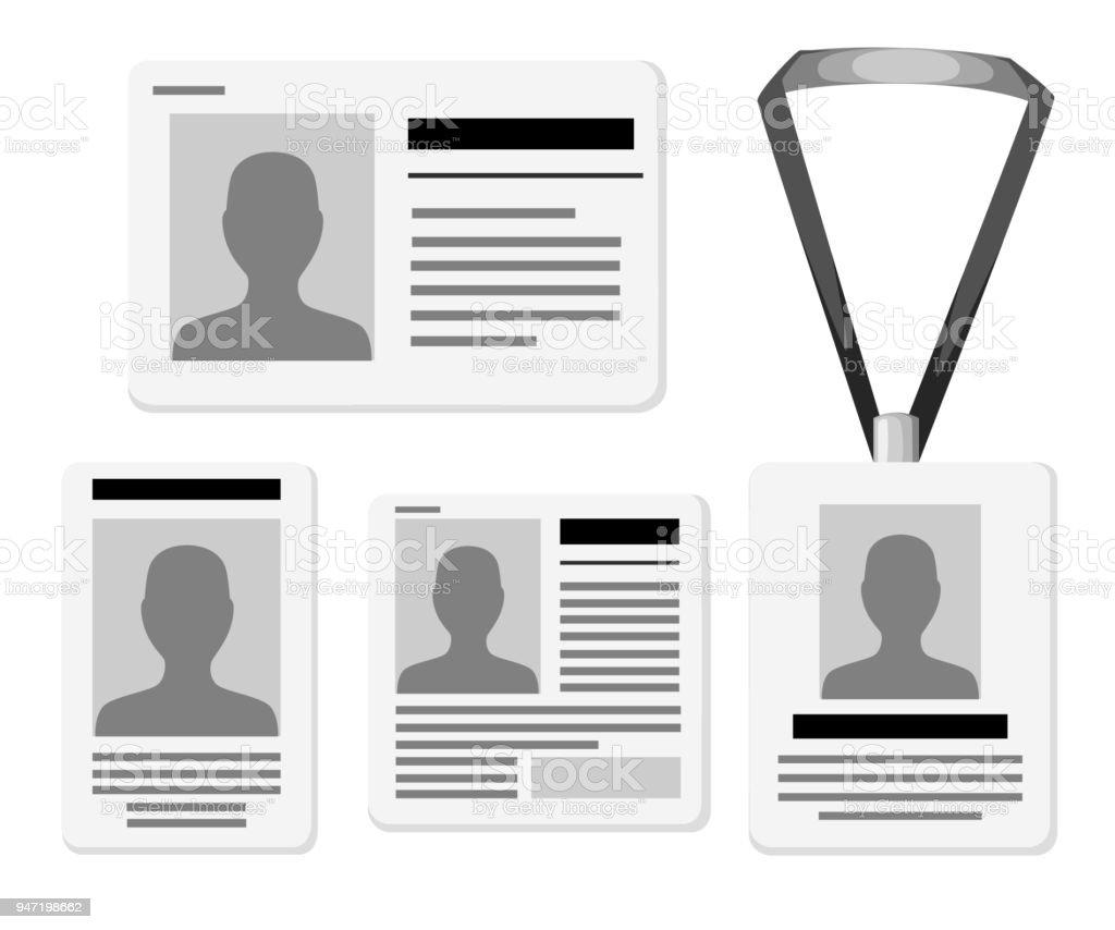 Ilustración de Conjunto De Tarjetas De Identificación Plantillas ...
