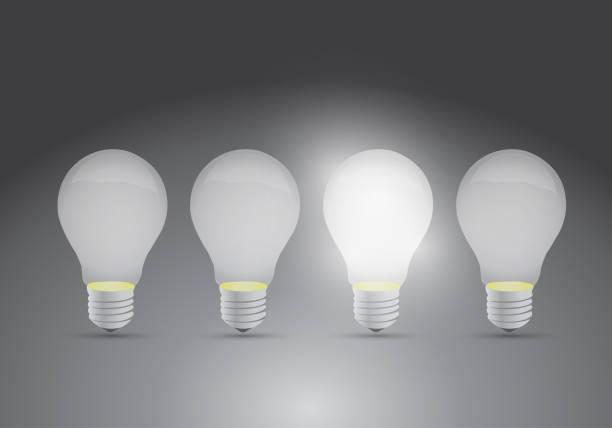 bildbanksillustrationer, clip art samt tecknat material och ikoner med uppsättning idéer. en ljus idéer illustration design - changing bulb led