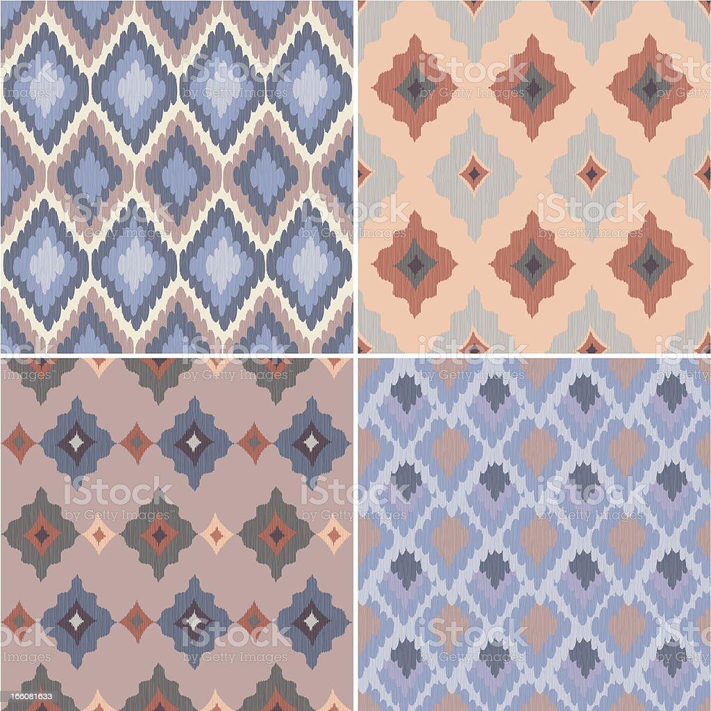 Set of Ikat Seamless Patterns vector art illustration