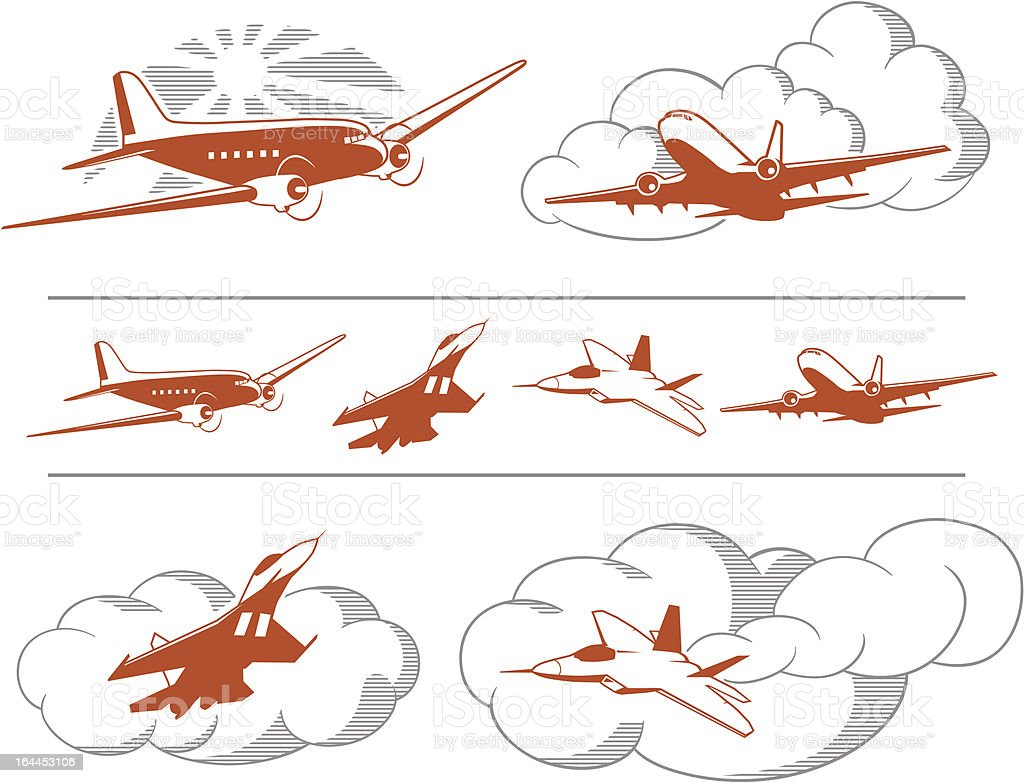 A set of illustrated airplanes on a white background vector art illustration