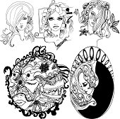 Set of illustrated girls