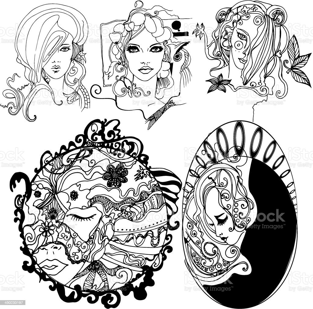Set of illustrated girls vector art illustration
