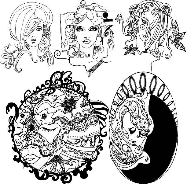 Set of illustrated girls vector art illustration