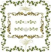 Set of illustrated ivy frames or borders