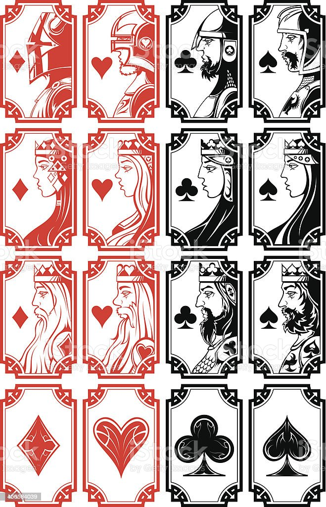 Set of illustrated playing card images vector art illustration