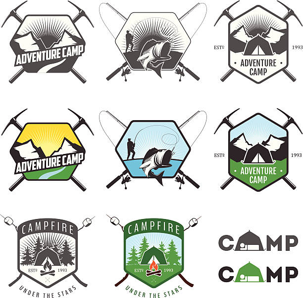 Set of illustrated vintage camping logos vector art illustration