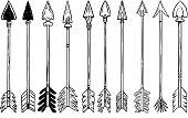 Set of illustration of bow arrows in engraving style. Design element for poster, label, sign, emblem, menu. Vector illustration