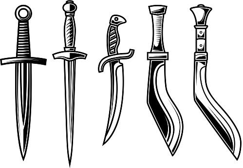 Set of illustration of daggers in engraving style. Design element for label, emblem, sign. Vector illustration