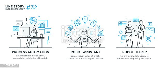 Set of illustrations concept with businessmen. technology, partnership, connection, business robot, cyber. linear illustration Icons infographics. Landing page site print poster. Eps vector. Line story